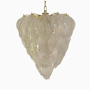 Vintage Frosted Murano Glass Leaf Chandelier