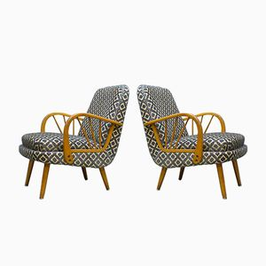 Mid-Century Lounge Chairs in Flockprint, 1950s, Set of 2
