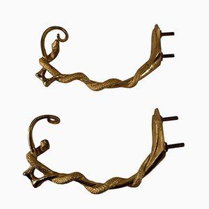 Antike Gardinenhalter mit Schlangen aus Bronze, 2er Set