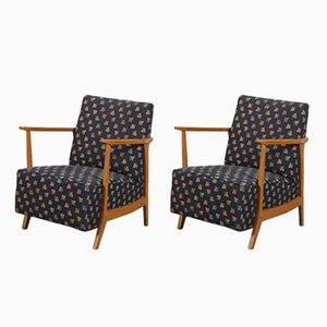 Armchairs with Wooden Frames, 1950s, Set of 2