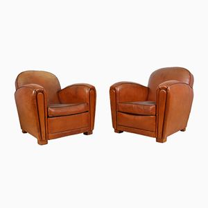 Vintage French Club Chairs, 1930s, Set of 2