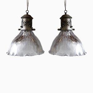 Vintage Deckenlampen von Holophane, 2er Set