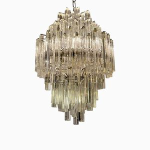 Vintage Murano Glas Triedri Kronleuchter von Venini