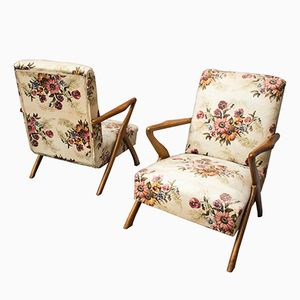 Floral Armchairs, 1950s, Set of 2