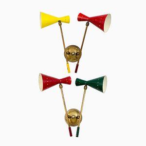 Mehrfarbige Wandlampen, 1950er, 2er Set