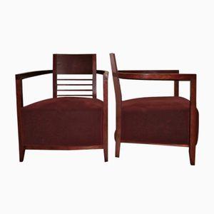 Vintage Sessel mit Breiter Sitzfläche und Samtbezug