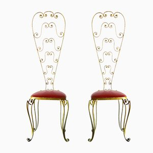 Vintage Italian Gold Iron Chairs by Pier Luigi Colli, Set of 2