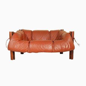 MP-211 2-Sitzer Sofa aus Holz und Leder von Percival Lafer, 1970er