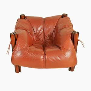 MP-211 Wood & Leather Lounge Chair by Percival Lafer, 1970s