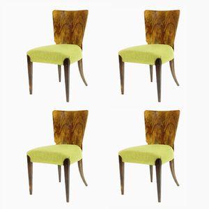 H214 Esszimmerstühle mit Nussholz-Furnier von Jindrich Halabala für UP závody, 1920er, 4er Set
