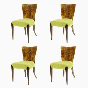 Walnut Veneered H214 Dining Chairs by Jindrich Halabala for UP závody, 1920s, Set of 4