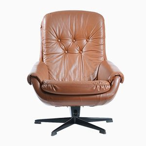 Vintage Leather Swivel Armchair from Peem, 1960s