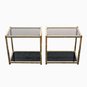 Vintage French Gold Metal Side Tables, Set of 2