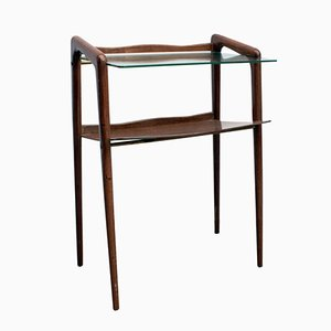 Mid-Century Wooden & Glass Side Table