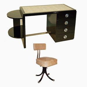 Art Deco Desk & Swivel Chair in Black Lacquer