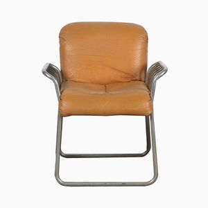 Italian Leather & Chrome Chair, 1970s
