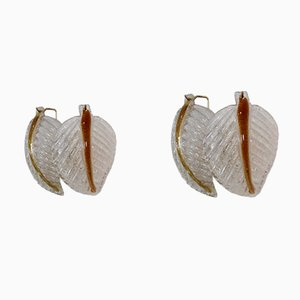 Murano Glass Leaf Wall Lights from Mazzega, 1970s, Set of 2