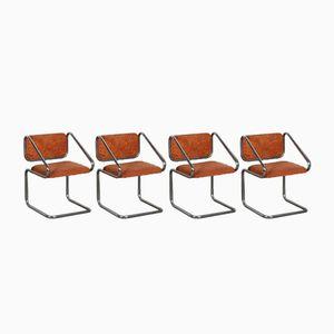 Italienische Orangenfarbene Chrom Freischwinger, 1970er, 4er Set