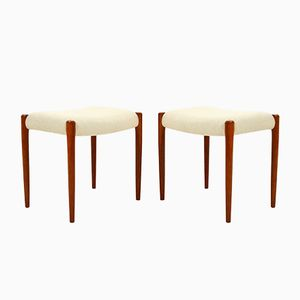 Vintage Model 80A Teak Stools by N.O. Møller for J.L. Møllers, Set of 2