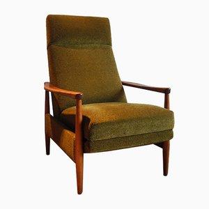 Poltrona grande reclinabile Mid-Century con schienale alto
