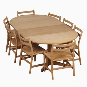 Blank Oak Dining Set with 8 CH47 Dining Chairs & Table by Hans Wegner & Møller, 1965