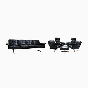 Danish Leather Lounge Suite by H.W. Klein for Komfort, 1960s