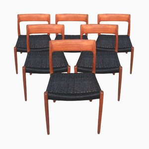Model 77 Dining Chairs by Niels Otto Møller for J.L. Møllers, 1950s, Set of 6