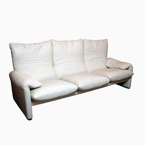 Maralunga 3- Sitzerr Sofa in Leder von Vico Magistretti für Cassina, 1988
