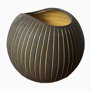 Moderne Kokos Vase mit Gestreifter Glasur von Hjördis Oldfors für Upsala Ekeby, 1950er