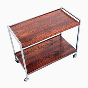 Rosewood & Chrome Serving Trolley Cart from Stiemsma, 1970s