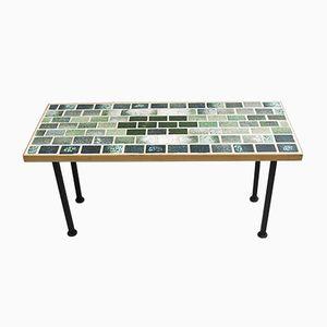 Tavolo in legno con mattonelle in ceramica fatto a mano, Danimarca