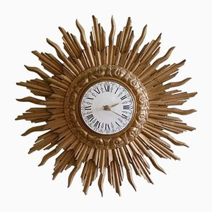 Giltwood Sunburst Wall Clock from C.J.H. Sens en Zonen, 1960s