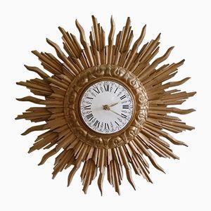 Orologio da parete a forma di sole in legno dorato di C.J.H. Sens en Zonen, anni '60