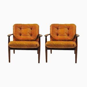 Sessel aus Palisander und Braunem Leder von Grete Jalk für France & Søn, 1960er, 2er Set
