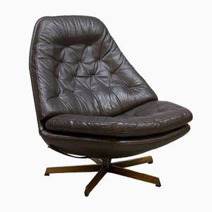 Vintage Leather Swivel Chair by Madsen & Schubel for Bovenkamp