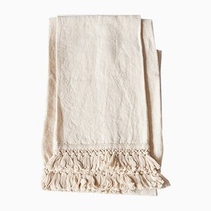 Linen Bath Towels with Short Fringe by Once Milano, Set of 2