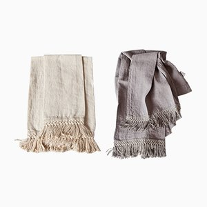 Linen Bath Towels with Long Fringe by Once Milano, Set of 2