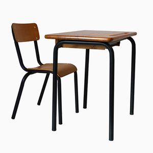 Bureau d'Ecole Vintage avec Chaise de Delagrave