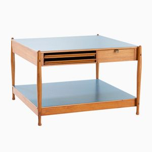 Italian Low Wooden Coffee Table with Light Blue Tops from Fratelli Reguitti, 1950s