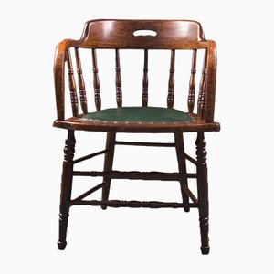 Industrial Captains Chair in Solid Oak, 1920s