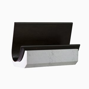 Bianco Carrara Marble & Hand Varnished Wood Veneer Floyd Magazine Holder by SORS Privatiselectionem