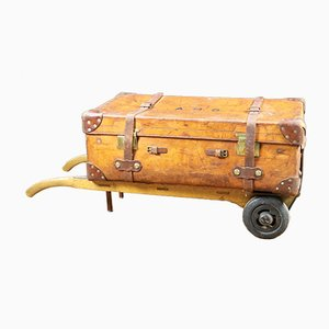 Leather Trunk on Old Trolley, 1930s