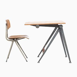 Vintage Reply Drafting Table by Wim Rietveld with Result Chair by Friso Kramer