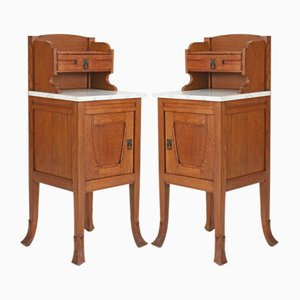 Dutch Art Nouveau Oak Nightstands, 1900s, Set of 2