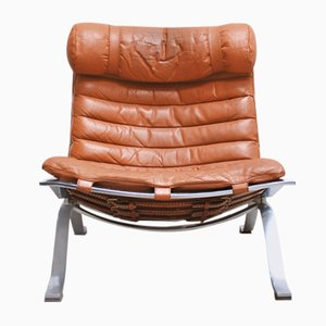 Vintage ARI Lounge Chair in Cognac Brandy Leather by Arne Norell