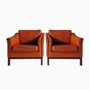 Danish Vintage Armchairs in Cognac Brown Leather, 1960s, Set of 2