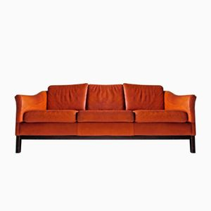 Danish Vintage 3-Seater Sofa in Cognac Brown Leather, 1960s