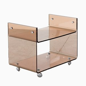 Vintage Lucite Two Level Trolley by Michel Dumas for Roche Bobois
