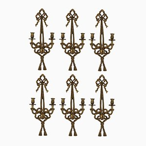 Vintage French Gilt Wood Wall Sconces, Set of 6