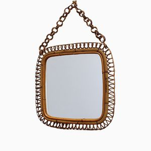 Italian Rattan and Bamboo Vintage Mirror, 1960s